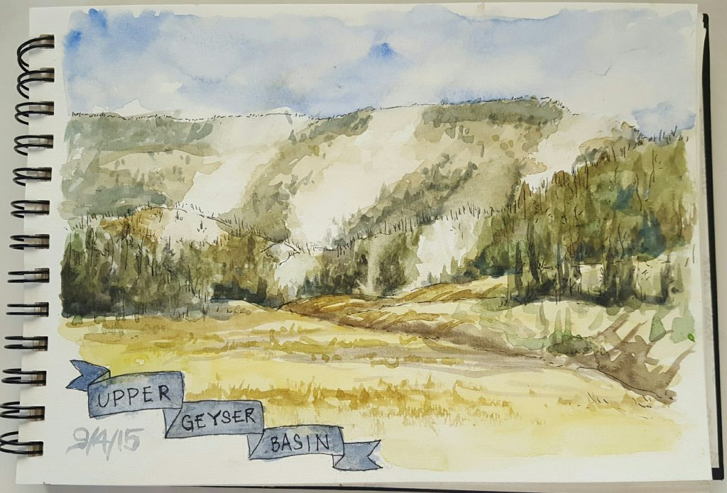 A water color sketch of Upper Geyser Basin, by Emily B. Martin